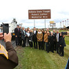 Family and family friends stand underneath the Indiana State Trooper Robert Lather Memorial Mile on U.S. 31 during a dedication ceremony on Friday, November 2, 2018, for Trooper Robert J. Lather II who died July 6, 1982, in an automobile crash on U.S. 31 in Miami County. He was assisting the Howard County Sheriffs Department in pursuit of a traffic violator. The violator drove his car into Trooper Lathers police car. Trooper Lather was the 28th Indiana State Police officer to die in the line of duty.<br /> Kelly Lafferty Gerber | Kokomo Tribune