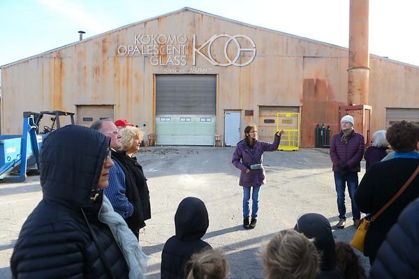 Laura Noel, takes a group through the tour of Kokomo Opalescent Glass on Friday, November 23, 2018.<br /> Kelly Lafferty Gerber | Kokomo Tribune