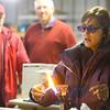 Tour guide Laura Noel demonstrates how to make a glass bead at Kokomo Opalescent Glass on Friday, November 23, 2018.<br /> Kelly Lafferty Gerber | Kokomo Tribune