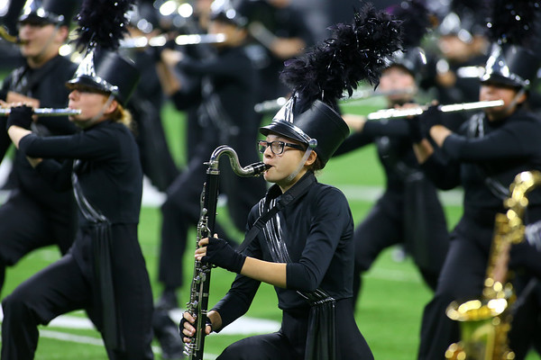 Grace Watson plays the bass clarinet with the Western Marching Panthers in the Class C Marching Band State Championship at Lucas Oil Stadium on Saturday, November 3, 2018.<br /> Kelly Lafferty Gerber | Kokomo Tribune