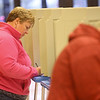 Paula Ballinger fills out her ballot as she participates in early voting at Northwestern School on Thursday, November 1, 2018.<br /> Kelly Lafferty Gerber | Kokomo Tribune