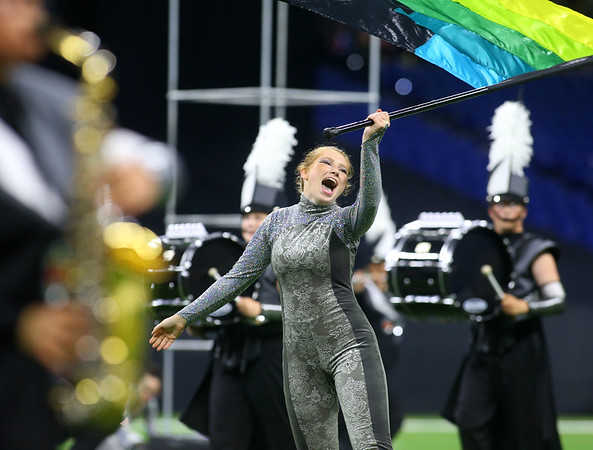 Senior colorguard member Gabby Fred performs with the Lewis Cass Marching Kings, who took third place in the Class C Marching Band State Championship at Lucas Oil Stadium on Saturday, November 3, 2018. Kelly Lafferty Gerber   Kokomo Tribune