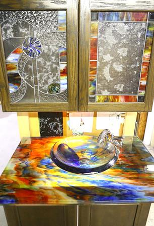 Sink and cabinets made with Kokomo Opalescent Glass on Friday, November 23, 2018.<br /> Kelly Lafferty Gerber | Kokomo Tribune