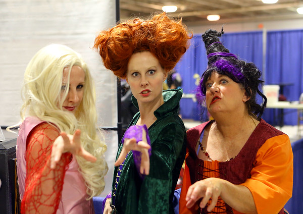 Dressed as the Hocus Pocus witches, twins Toni Betzner and Kylie Betzner, along with Donna Bevington dressed up for Kokomo-Con on Saturday, October 13, 2018.<br /> Kelly Lafferty Gerber | Kokomo Tribune