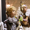 Lily Stoeckley, 7, left, and her step-sister Ashley Gries, 10, both dressed as steam punk toys, watch the results of the women's costume contest during Kokomo-Con on Saturday, October 13, 2018.<br /> Kelly Lafferty Gerber   Kokomo Tribune