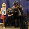 Heather LaPlant, from Carmel, dressed as Webby from Duck Tales, chats with Mike Wong from Fairfield, Ohio, dressed as Toothless from How to Train Your Dragon during Kokomo-Con on Saturday, October 13, 2018. Wong won best overall costume at the event.<br /> Kelly Lafferty Gerber | Kokomo Tribune