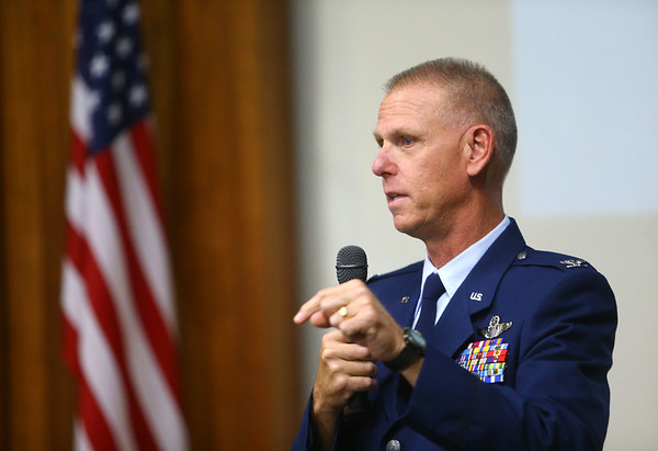Col. Larry Shaw, commander of the Grissom Air Reserve Base, speaks at Tuesday's Military Foundation meeting on October 16, 2018.<br /> Kelly Lafferty Gerber   Kokomo Tribune