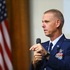 Col. Larry Shaw, commander of the Grissom Air Reserve Base, speaks at Tuesday's Military Foundation meeting on October 16, 2018.<br /> Kelly Lafferty Gerber | Kokomo Tribune