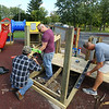 Lowes, with help from workers from Grissom Air Reserve Base, install $16,000 worth of playground equipment at Taylor Elementary School on Friday, September 28, 2018.<br /> Kelly Lafferty Gerber | Kokomo Tribune
