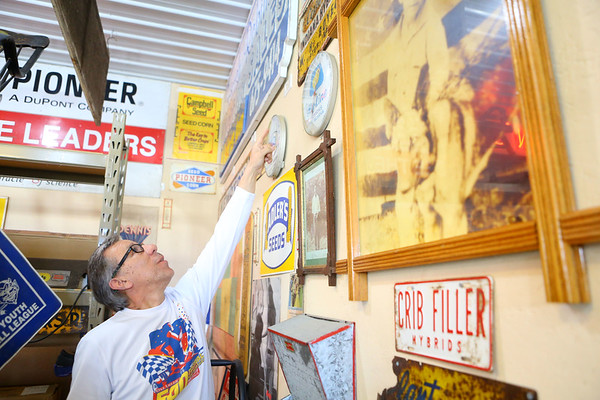 """Mauricio """"Mo"""" Gonzalez, shows artifacts from Tipton's history on March 28, 2019. Most are on display in his garage built just for his collection.<br /> Kelly Lafferty Gerber 