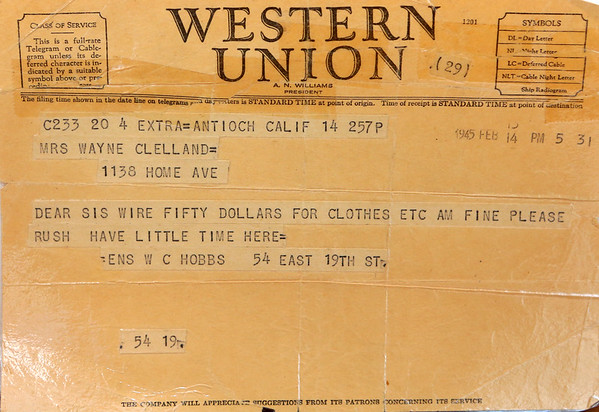 """A Western Union telegram from Wright """"Billy"""" Hobbs to his sister asking for her to wire him 50 dollars for clothes on February 14, 1945. Kokomo native Ensign Wright """"Billy"""" Hobbs was one of the last four men to die in World War II in the final Pacific air battle on August 15, 1945. Hobbs' story is the subject of a new book by John Wukovits called Dogfight Over Tokyo.<br /> Kelly Lafferty Gerber   Kokomo Tribune"""