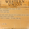 "A Western Union telegram from Wright ""Billy"" Hobbs to his sister asking for her to wire him 50 dollars for clothes on February 14, 1945. Kokomo native Ensign Wright ""Billy"" Hobbs was one of the last four men to die in World War II in the final Pacific air battle on August 15, 1945. Hobbs' story is the subject of a new book by John Wukovits called Dogfight Over Tokyo.<br /> Kelly Lafferty Gerber 