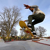 Taylor Shirek gets a little air over one of the ramps at the City of Kokomo's newest skate park located at Foster Park opens to a big crowd on December 23, 2019.<br /> Tim Bath   Kokomo Tribune
