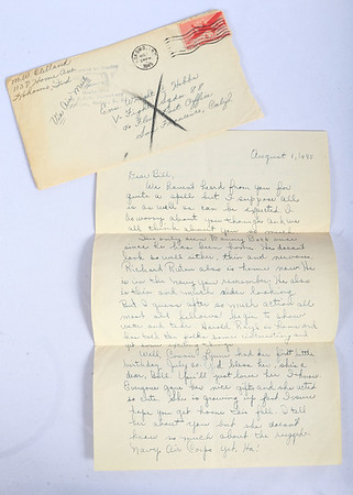 "A letter from Hobbs' sister that was returned to sender. Kokomo native Ensign Wright ""Billy"" Hobbs was one of the last four men to die in World War II in the final Pacific air battle on August 15, 1945. Hobbs' story is the subject of a new book by John Wukovits called Dogfight Over Tokyo.<br /> Kelly Lafferty Gerber 