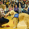 Northwestern Middle School special education teacher and Rocky's handler, Paula Davis introduces Rocky, Northwestern Middle School's new facility dog, to the school on Friday, December 13, 2019.<br /> Kelly Lafferty Gerber | Kokomo Tribune