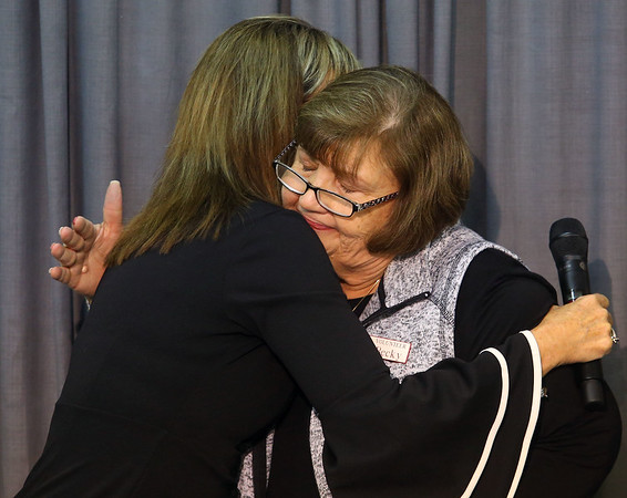 We Care President Becky Varnell hugs WWKI's Sherry Foxx after announcing the 2019 We Care telethon total on Sunday, December 8, 2019.<br /> Kelly Lafferty Gerber | Kokomo Tribune