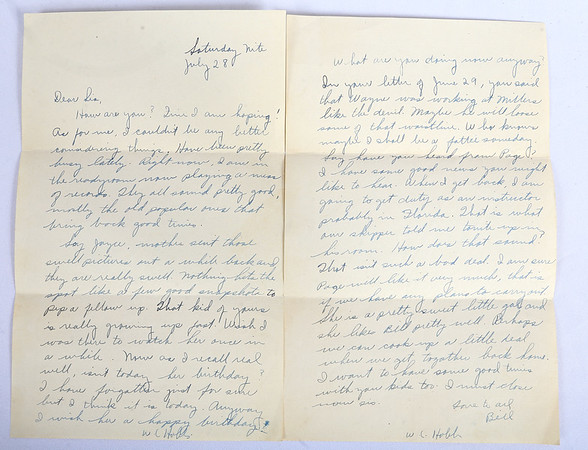 """A letter from Hobbs to his sister Joyce. Kokomo native Ensign Wright """"Billy"""" Hobbs was one of the last four men to die in World War II in the final Pacific air battle on August 15, 1945. Hobbs' story is the subject of a new book by John Wukovits called Dogfight Over Tokyo.<br /> Kelly Lafferty Gerber 