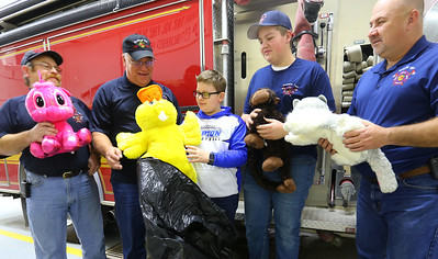 Ethan Wesner is a 6th grader at Tipton Middle School and has recently asked for a ton of stuffed animals for his birthday that he then delivered to fire and police. He drops a bag of them at Madison Twp. Volunteer Fire Department on December 27, 2019. Tim Bath | Kokomo Tribune