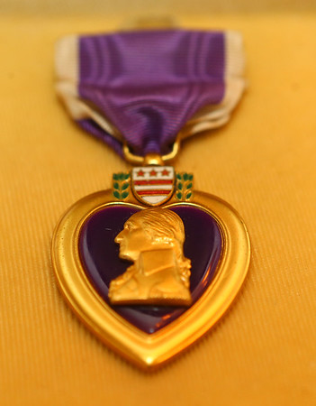 """Hobbs' purple heart. Kokomo native Ensign Wright """"Billy"""" Hobbs was one of the last four men to die in World War II in the final Pacific air battle on August 15, 1945. Hobbs' story is the subject of a new book by John Wukovits called Dogfight Over Tokyo.<br /> Kelly Lafferty Gerber 