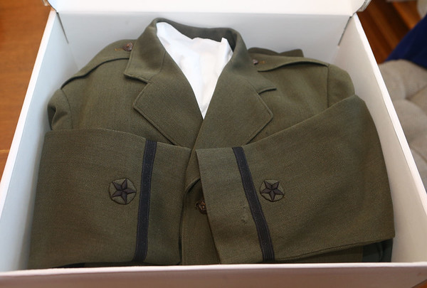"""Hobb's uniform jackets. Kokomo native Ensign Wright """"Billy"""" Hobbs was one of the last four men to die in World War II in the final Pacific air battle on August 15, 1945. Hobbs' story is the subject of a new book by John Wukovits called Dogfight Over Tokyo.<br /> Kelly Lafferty Gerber   Kokomo Tribune"""