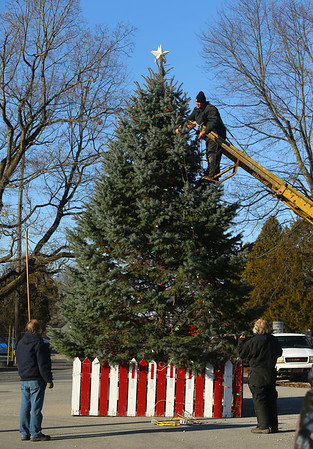 The residents of Miami, Indiana continue an 80-year tradition of putting up a Christmas tree in the middle of town, at the intersection of Elm and and Fulton streets on Saturday, December 7, 2019.<br /> Kelly Lafferty Gerber   Kokomo Tribune