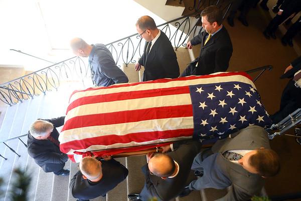 Pallbearers carry the casket of Tipton mayor Don Havens out of West Street Christian Church on Saturday, December 21, 2019.<br /> Kelly Lafferty Gerber | Kokomo Tribune