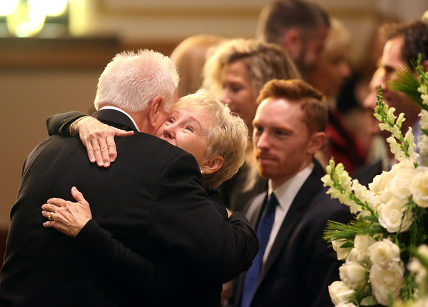 Tami Brown, Don Havens' wife, hugs a funeral-goer at at West Street Christian Church before the start of the funeral for Tipton mayor Don Havens on Saturday, December 21, 2019.<br /> Kelly Lafferty Gerber | Kokomo Tribune