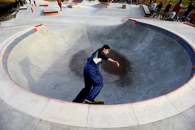 Freddie Johnson rides through the bowl at the City of Kokomo's newest skate park located at Foster Park opens to a big crowd on December 23, 2019. Tim Bath | Kokomo Tribune