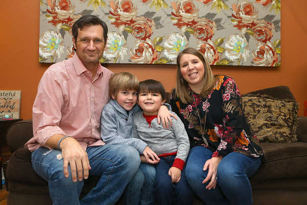Tracy Horrell, left, and Kristen Horrell, right, along with their two kids Jay, 7, and Bennett, 4, on Jan. 31, 2019. Tracy, Western Middle School Principal, was diagnosed with Polycystic Kidney Disease several years ago, and has since had both his kidneys removed. His wife Kristen recently donated one of her kidneys to Tracy.<br /> Kelly Lafferty Gerber | Kokomo Tribune