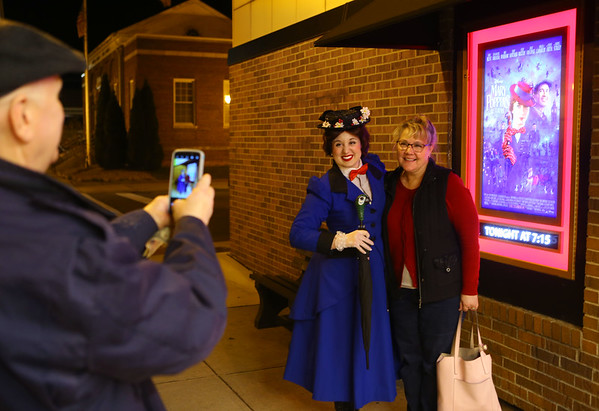 """Mary Poppins, from Royal Events, visited with movie-goers before the Saturday night showing of """"Mary Poppins Returns"""" at the Diana Theatre in Tipton on Saturday, Jan. 5, 2018. Kelly Lafferty Gerber 
