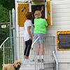The Bee hive is located at Mehlig Park at the corner of Carter and Westmoreland on July 3, 2019. The hive was discovered in the wall of the building and instead of removing it the city parks department had a hole cut and glass placed over it so people could view the bees making their hive. Kokomo Parks and Recreation employee Debbie Green talks to Patty Walker about the viewing window.<br /> Tim Bath | Kokomo Tribune