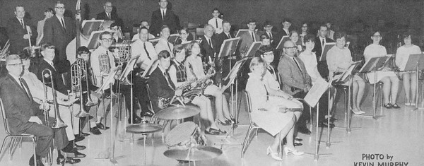 Rex Stitsworth, in the third row, sixth from the right, has been with the band since it began and was part of the group that recroded the first Peru Circus band record in the 1960s.<br /> Photo Provided