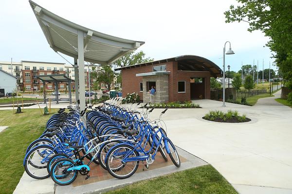 Koko-Go Free Ride, the city's new free bike-sharing program at 307 S. Main St., near The Foxes Trail, on Wednesday, July 3, 2019.<br /> Kelly Lafferty Gerber | Kokomo Tribune