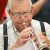 Rex Stitsworth plays the trumpet during band practice on July 3, 2019. Stitsworth and Tom Gustin have been part of the Peru Circus band since its first year, 60 years ago.<br /> Kelly Lafferty Gerber | Kokomo Tribune