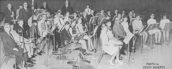 Rex Stitsworth, in the third row, sixth from the right, has been with the band since it began and was part of the group that recorded the first Peru Circus band record in the 1960s.<br /> Photo Provided