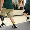 Austin Hewitt practices his choreography with Eastern's middle school choir on May 3, 2019. Austin is a teacher's aide for both of Eastern's middle school choirs. Austin had his left leg below the knee amputated last October and got a new leg in January. <br /> Kelly Lafferty Gerber | Kokomo Tribune