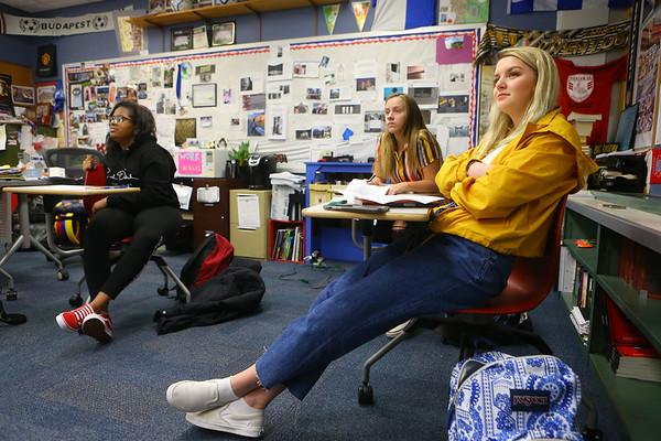 18-year-old Zara Hooper listens in her IB English class at Kokomo High School on April 26.<br /> Kelly Lafferty Gerber | Kokomo Tribune