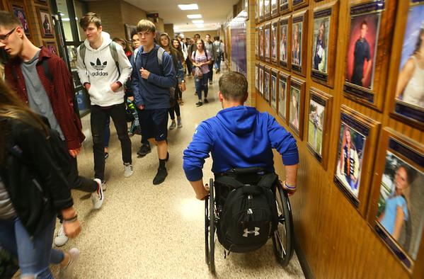 Alex Mula heads to class at Northwestern High School on April 25, 2019.<br /> Kelly Lafferty Gerber | Kokomo Tribune
