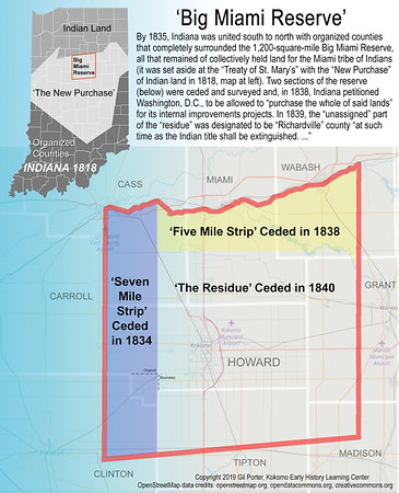 """From Gil Porter, Kokomo Early History Learning Center: Map of """"Big Miami Reserve."""" The reserve was designated in 1818 and eventually ceded to Indiana by several different treaties in 1834, 1838 and 1839/1840. Howard was entirely inside the reserve (named Richardville initially) and was the last county organized in the state in 1844."""