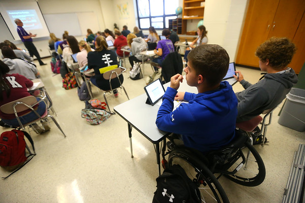 Senior Alex Mula listens to the lecture in his Economics class at Northwestern High School on April 25, 2019.<br /> Kelly Lafferty Gerber | Kokomo Tribune