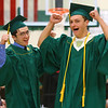 Nicholas Hillman, left, and Joseph Hawes enter Eastern's gym for the 2019 Eastern High School graduation on Sunday, June 2, 2019.<br /> Kelly Lafferty Gerber | Kokomo Tribune
