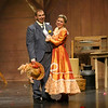 "Seniors Austin Hewitt, playing Horace Vandergelder, and Casey Clark, playing Dolly Gallagher Levi, perform during Eastern's spring musical ""Hello Dolly!"" on Friday, March 15, 2019. Austin had just gotten his new leg two months prior.<br /> Kelly Lafferty Gerber 