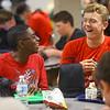 Antawaun Scott, left, laughs with Evan Kretz during lunch at Western High School on April 30, 2019.<br /> Kelly Lafferty Gerber | Kokomo Tribune