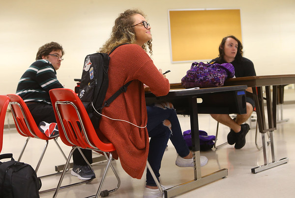 Tori listens as her AP Calculus teacher goes over a pre-test review in class on April 23. The backpack Tori is wearing has formula that goes through a feeding tube into a port in her stomach.<br /> Kelly Lafferty Gerber | Kokomo Tribune