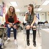 Taylor senior Tori Gilstrap, left, laughs with her friend Ruby Terrell during lunch on April 23.<br /> Kelly Lafferty Gerber | Kokomo Tribune