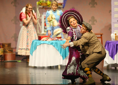 """Mrs. Dolly Gallagher Levi, played by Casey Clark, teaches Barnaby Tucker, TJ Weeks, how to dance during Eastern's performance of """"Hello Dolly!"""" on Friday, March 15, 2019. This year, 145 students made up the cast and crew.  Kelly Lafferty Gerber 