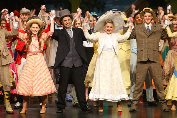 "From left: Kaylee Stants, playing Minnie Fay, Austin Hewitt playing Horace Vandergelder, Casey Clark playing Mrs. Dolly Gallagher Levi, and Drew Monize playing Cornelius Hackl perform the final scene in ""Hello Dolly!"" on Friday, March 15, 2019. This year, 145 Eastern junior and senior high students made up the cast and crew of the musical. Kelly Lafferty Gerber 