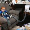 """Marcus is hooked up to a chest physiotherapy and a respiratory breathing treatment machine, or what his mom Kelly Lively calls the """"tickly, wiggly, jiggly, wrap-a-roo,"""" on Feb. 16, 2019. The three year old undergoes the process, which loosens and mobilizes secretion, three times a day. His mom made up the fun name for the machine to make Marcus less scared of the whole process.<br /> Kelly Lafferty Gerber 