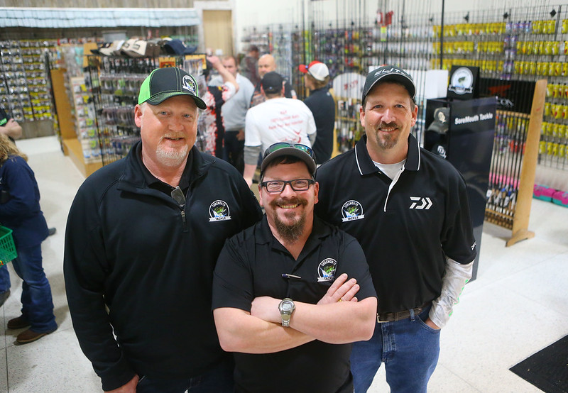 From left: Owners Aaron Hochstedler, Ty Kendall, and Jason Kiser during SoreMouth Tackle's grand opening at 1500 N. Reed Road inside the Kokomo Event Center on Saturday, March 30, 2019. Kelly Lafferty Gerber | Kokomo Tribune
