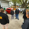 Greentown Road Kings members chat outside among the hot rods parked outside the club's garage on April 27, 2019.<br /> Kelly Lafferty Gerber | Kokomo Tribune